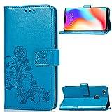 JESD051997 - Funda de piel sintética tipo cartera para Vivo Y83 / Y81 (piel sintética, con tarjetero), color azul
