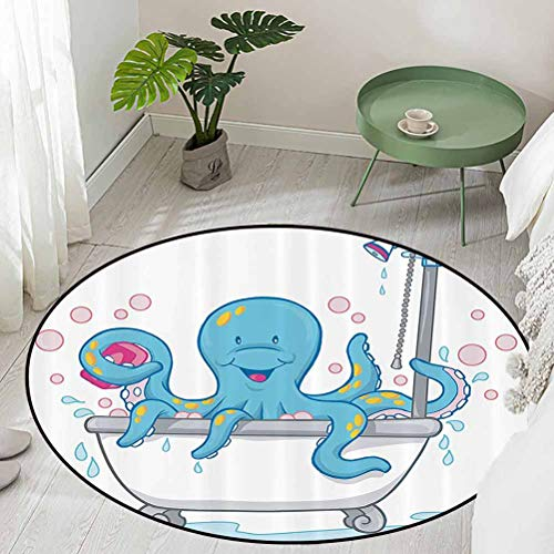 Round Office Chair Floor Mat Foot Pad Cartoon Illustration of Cute Octopus Taking a Bubble Bath in Tub with Soap in Tentacles Diameter 66 inch Non Slip Absorbent Carpet