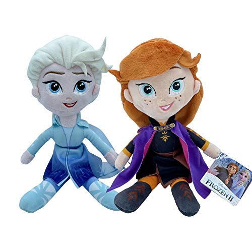 Desconocido Disney, Peluches Princesas Frozen II, Elsa y Anna 30 CM (12'), Super Suave (Pack de 2)