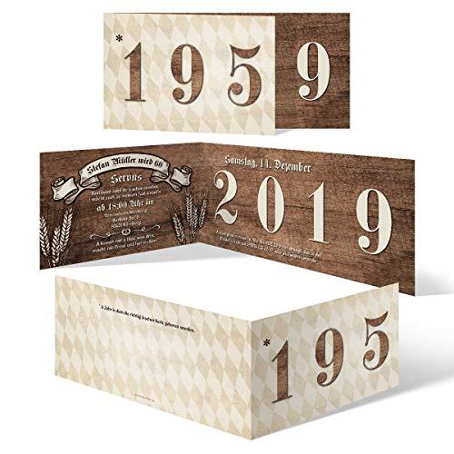 10 x Individuelle 60. Geburtstag Einladungskarten Klappkarten DIN Lang (210x98mm) - Bayerisches Holz