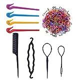 4 herramientas de eliminación de bandas de goma para niños,cortador de pelo elástico,con 1000 bandas de goma de colores negros,1 juego de herramientas de cola de caballo mágica y 1 peine