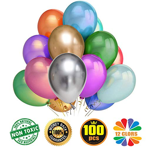 100pcs Assorted Color Party Balloons Thicken Round Metallic Pearlescent Latex Decoration Balloons Photo Shoot/Birthday/Wedding Party/Festival/Event/Carnival Decorations (12 Inches)
