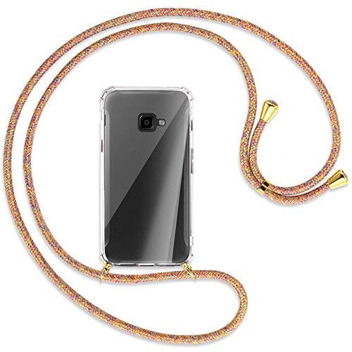 mtb more energy® Handykette kompatibel mit Samsung Galaxy Xcover 4, 4S (SM-G390, G398 / 5.0'') - Rainbow/Gold - Smartphone Hülle zum Umhängen - Anti Shock Full TPU Hülle
