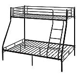 SUSIELADY Litera de metal, marco de cama triple de metal de 91 cm individual y 10 cm de matrimonio, 3 durmientes para adultos/niños, litera para habitación de niños, dormitorio (negro)