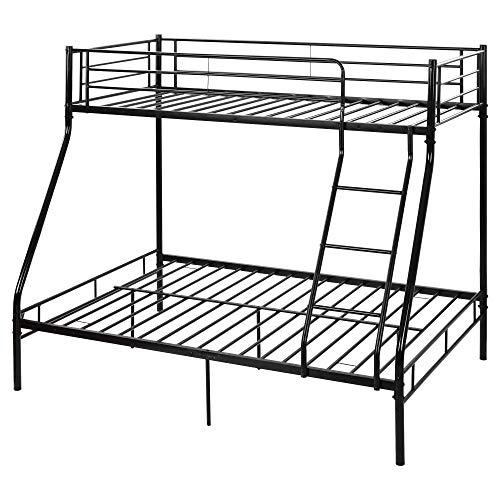 SUSIELADY Litera de metal, marco de cama triple de metal de 91 cm individual y 10 cm de matrimonio, 3 durmientes para adultos niños, litera para habitación de niños, dormitorio (negro)