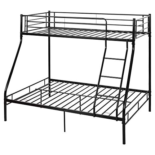 Bunk Bed Metal Bunk Bed, Triple Metal Bed Frame 3ft Single & 4ft6 Double, 3 Sleeper for Adults/Children, Bunk Bed for Childrenroom, Bedroom (Black)