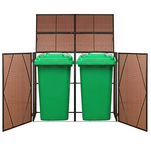 vidaXL Double Wheelie Bin Shed Poly Rattan Garden Garbage Wheelie Bin Cover Outdoor Trash Bin Shed Easy to Assemble Durable Sturdy Brown