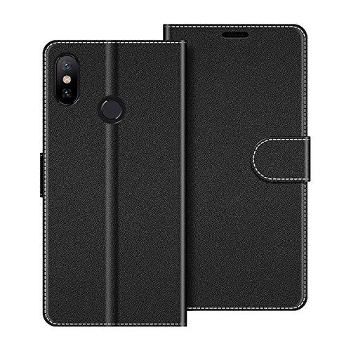 COODIO Custodia per Xiaomi Mi A2, Custodia in Pelle Xiaomi Mi A2, Cover a Libro Xiaomi Mi A2 Magnetica Portafoglio per Xiaomi Mi A2 Cover, Nero