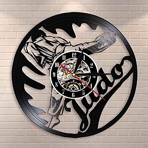 XYLLYT Reloj de Pared de Vinilo Judo Mural de Artes Marciales Judo Gym Sign Reloj de Pared Jujitsu Reloj de Pared de Vinilo Retro Reloj de Pared de Artes Marciales Fight Judo