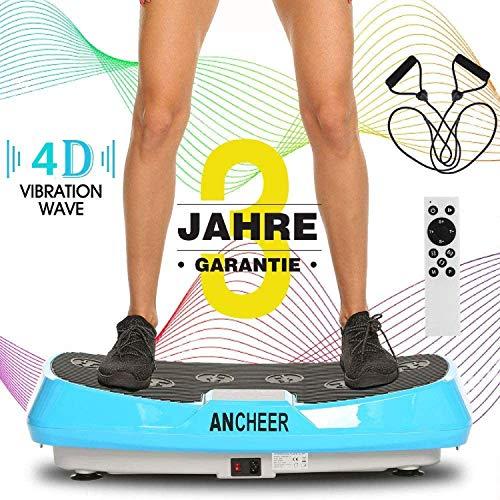ANCHEER Profi 4D Vibrationsplatte mit 2 Motoren, Ultraflache Breite Fitness Vibrationsboard Oszillierend Body Shaper mit Fernbedienung, Trainingsbänder, Anleitung, 20-30hz, bis 150kg Belastbar