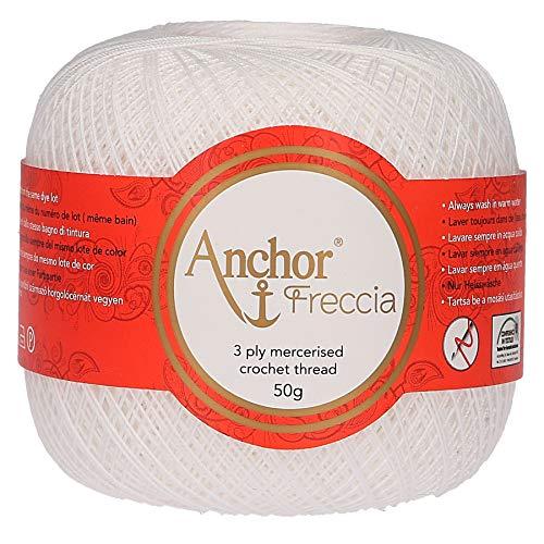 Anchor Freccia Stärke 16 4771016-07901 weiß Häkelgarn, 100 % Baumwolle
