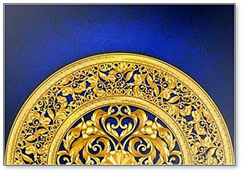 Gold Barok Ornament Sjabloon Achtergrond Koelkast Magneet