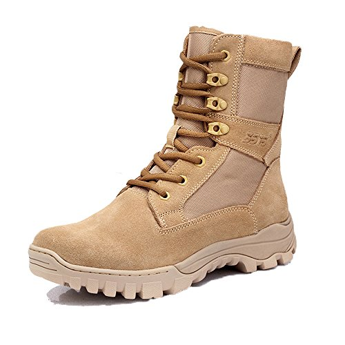PANY Men's 8 inch Coyote Military Boots Breathable Combat Boots Commando Outdoor Desert Tactical Boots 7 D(M) US Beige