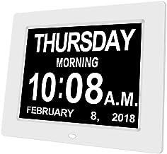 Day Date Clock Dementia Clock Digital Alarm Clock Calendar with Large LCD Screen, On Time Alarm, Auto Light Dimming, Snooz...