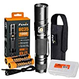 Fenix UC35 V2.0 1000 Lumen Rechargeable Tactical Flashlight with Two 3500mAh Battery and Lumen Tactical Organizer