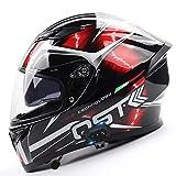 ABDOMINAL WHEEL Casco Moto Integral con Bluetooth,Casco de Motocicleta Abatible,Casco de Motocicleta Modular con Visera,ECE Homologado Casco de Moto de Carreras de Cara Completa A,XL=61~62cm