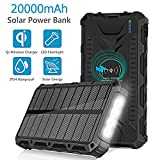 Solar Power Bank, 20000mAh External Battery Packs With QI Wireless Charger Portable Backup
