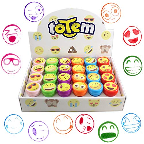 Totem World 24 Emoji Craft Stampers - Self-Inking Stamps - Perfect for Birthday Party Favors, Easter Eggs, and Stocking Stuffers