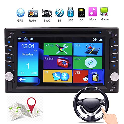 EINCAR Double 2 Din in Dash Car DVD Player Car Stereo GPS Navigation Autoradio Bluetooth Car Radio 6.2 inch Touchscreen Support SWC USB SD MP3 FM AM RDS AUX in Video Head Unit Rear Camera Input