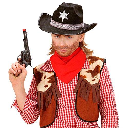 NET TOYS Cowboyhut Kinder Sheriff Hut Cowboy Sheriffhut Westernhut Gesetzeshüter Kinderhut Fasching in schwarz Kostüm Zubehör