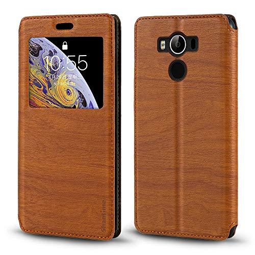 Elephone P9000 Hülle, Holzmaserung Leder Hülle mit Kartenhalter & Fenster, Magnetische Flip Cover für Elephone P9000