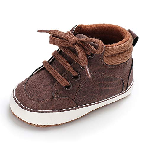 Baby Girls Boys Canvas Shoes Soft Sole Toddler First Walker Infant High-Top Ankle Sneakers Newborn Crib Shoes (12-18 Months, PU-Brown)