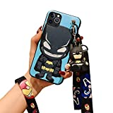 Fanbiya for iPhone 11 Pro Max Case for Kids Boys Cute 3D Cartoon Batman Pattern Shockproof Protection Slim Fit TPU Case with Crossbody Strap Lanyard and Doll Kickstand