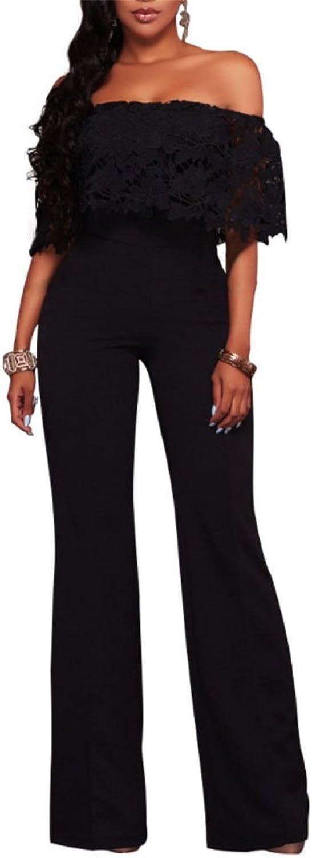 Vamvie Women's Sexy Off Shoulder Lace Ruffle Long Pants Wide Leg Jumpsuits Rompers