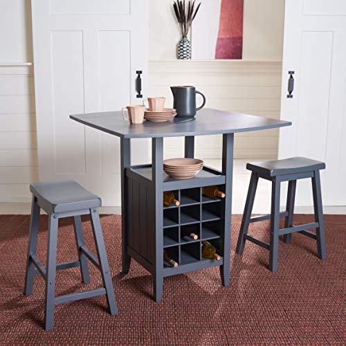 Safavieh Home Emeric Grey Oak 3-piece Drop Leaf Table Storage -Rack -Pub -Set