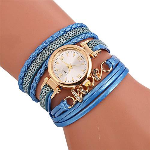 SANDA Relojes De Pulsera, Reloj de Pulsera de Cuero Trenzado en Europa y América círculo sinuoso Conjunto Diamante Reloj británico Amor Pulsera-Azul Claro