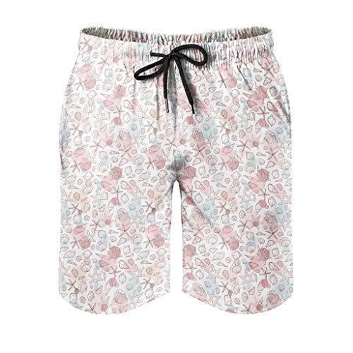Dessionop Pantalones cortos de playa para hombre, diseño vintage de concha, sin costuras, con forro de bolsillo, étnico, blanco, 6XL