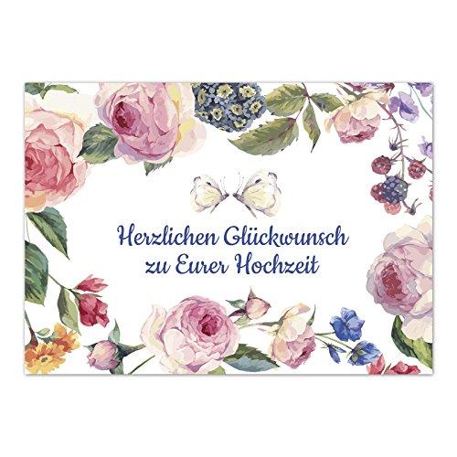 Glückwunschkarte zur Hochzeit / Motiv: Vintage Blumen und Schmetterlinge / mit Umschlag / Hochzeitskarte / Glückwunsch Karte