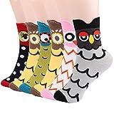 Emooqi Damen Socken, 6 Paare Baumwoll Socken Neuheit Mädchen Socken|Gemütlich Atmungsaktiv|EU Size 35~42|Lässige Socken Frauen Socken für Damen und Mädchen Tägliche Abnutzung Geschenke