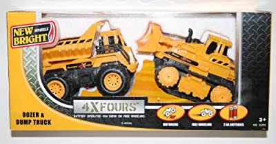 Dump Quarry Truck, Dozer & Trailer 4x4 Construction Set 3 Piece Battery Operated Playset New Bright BIGTRAX