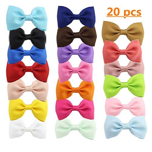 Haarspangen für Mädchen, kleine Haarschleifen, Ripsband, 20 Farben, Krokodilklemmen für Mädchen, Kinder, Neugeborene, Kleinkinder, Hunde