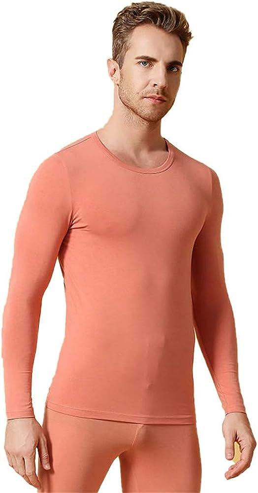 Dizadec Thermal Underwear for Men, Men's Thermal Underwear Top Crew Neck Base Layer Long Sleeve Underwear T Shirt