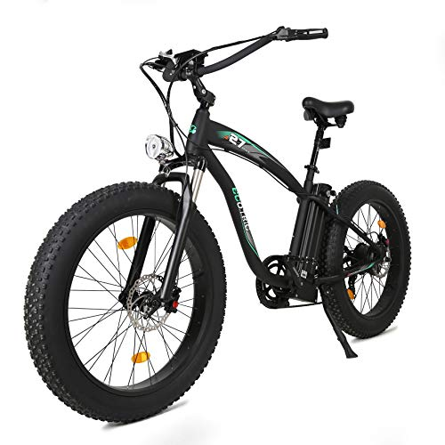 """ECOTRIC Powerful Fat Tire Electric Bicycle Ebike 26"""" Aluminium Frame Suspension Fork Beach Snow Ebike Electric Mountain Bicycle 1000W Motor 13AH/48V Removable Lithium Battery (Black)"""
