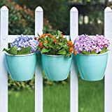 Sungmor Self Watering Wall Planter - Concise Cyan & 3PC Pack & Large Size - Indoor Outdoor Vertical Flower Pot - Wall Mounted Window Hanging Pot - Water Storage Space Design Container