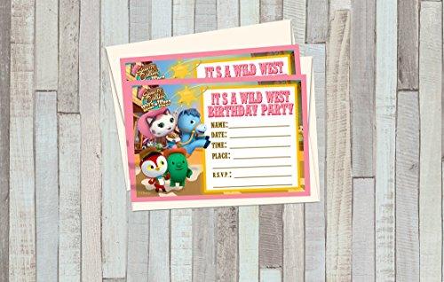12 SHERIFF CALLIE Birthday Invitations (12 5x7in Cards, 12 matching white envelopes)