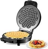 Macchina Per Waffle, Piastra Per Waffle, Cialdiera, Piastra Antiaderente 17cm, Waffle Maker, Spie LED, 5 Cuore Waffle Alla Volta, Plastica Fenolica Antiscottatura