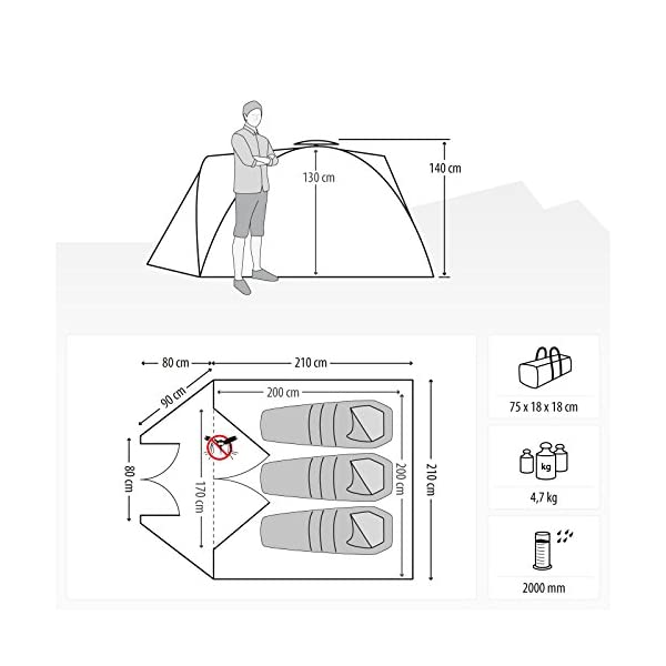 Qeedo Quick Pine 3 Man Dome Tent (Quick Up System) 7