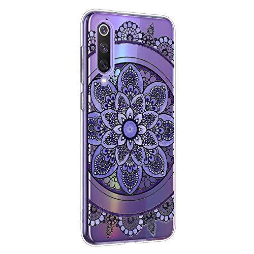 Oihxse Mandala Motif Case Compatible pour Huawei P40 Pro Coque Transparente Silicone TPU Souple Protection Etui Ultra Slim Mehndi Floral Datura Dentelle Housse Bumper (A1)