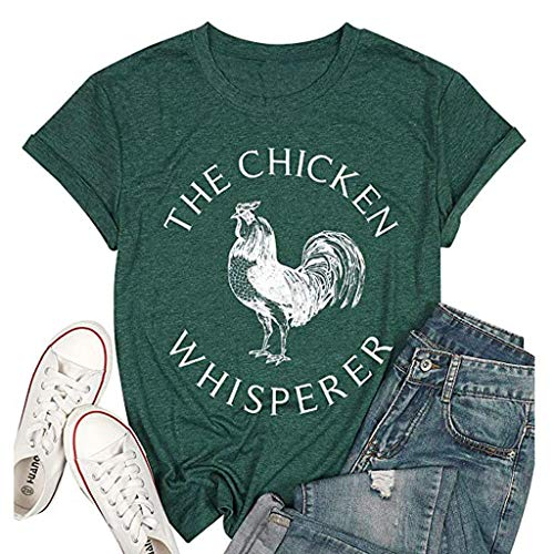 Meikosks Womens Letters Printing Tunic Round Neck Short Sleeve Tops Casual Basic T Shirt Green