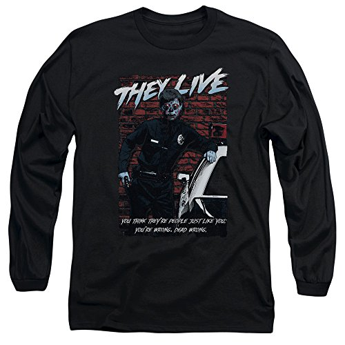 They Live - T-shirt manches longues Dead Wrong pour hommes, Small, Black