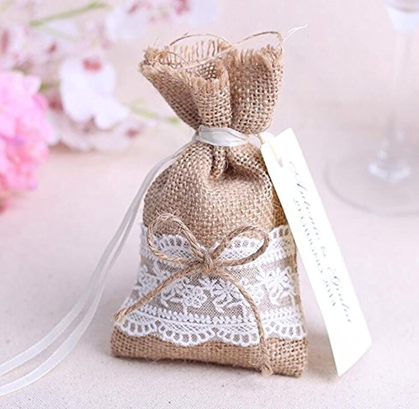 Burlap & Lace Drawstring Bag Jewelry Pouch, Wedding Party Favor, Gift/Candy Bag (50, 4)