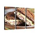 Reuben Sandwich with Corned Beef on Dark rye Bread Reuben Sandwich Print On Canvas Wall Artwork...