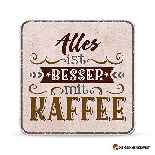 Sheepworld, My Beautytree - 44618 - Untersetzer Nr. B20, Alles ist besser mit Kaffee, Kork, 9,5cm x 9,5cm