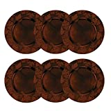 Round Embossed Holiday Decorative Charger Plates, 14 Inches Round, Set of 6, for Dining Table or Décor (Fall Brown)