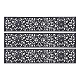 """Rubber Stair Treads - Set of 3 48"""" Extra Wide Elegant Outdoor Black Scrollwork Rubber Non Slip Stair Treads Mat"""