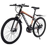 Dayyet 26in Mountain Bicycle,21 Speed Carbon Steel Mountain Bike Full Suspension,Non-Slip Bike for Adults Sport Wheels Dual Disc Brake MTB Bicycle Urban Track Bike Road Bikes (Black)